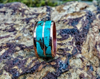 Marbled Turquoise Copper Ring Band.  5mm-15mm Wide. Plain and Lined. Copper and Bronze.