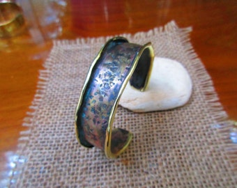 Hammered Bronze Cuff Bracelet. Patinaed and polished. 20mm Widest. 15mm Small End.