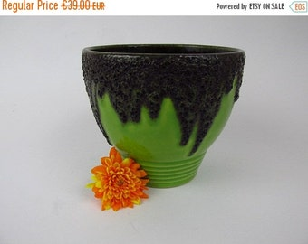 ON SALE Vintage ceramic pottery planter by Fohr / green / Fat Lava   West German Pottery   60s