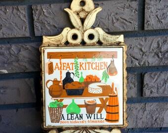 Vintage Kitsch Iron Trivet Made in Japan 'Fat Kitchen' Hot Plate Pot Holder