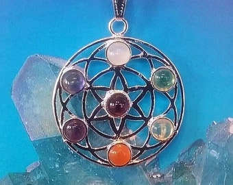 Handmade Sacred Geometry Silver FLOWER Of LIFE PENDANT with 7 Chakra Stones, Chain And Gift Box, Amethyst, Moonstone, Peridot, Carnelian