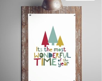 It's The Most Wonderful Time Of The Year, Quote Digital Print, Christmas Printable Art Gift Ideas, Holiday Wall Art Decor, DIGITAL DOWNLOAD
