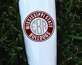 Mississippi State Monogram Decal | Bulldogs Tumbler Decals | Glitter Vinyl Available | Water Bottle Monogram Frame | Car Decal