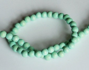 Mint Beads, Round Wood Beads, 8mm, Lightweight Beads, Fast Shipping from USA
