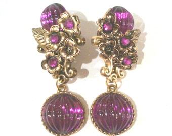Purple Floral Dangle Clip Earrings