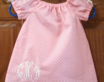 Monogrammed Peasant Dress for Baby/Toddler/Girl, Valentine Dress, Spring Dress, Easter Dress, Summer Dress