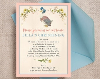 Personalised Jemima Puddle Duck Beatrix Potter Christening Baptism Invitation Cards