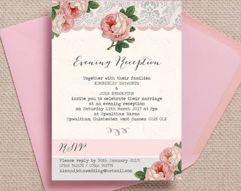 Personalised Pink and Grey Vintage Rose Evening Wedding Reception Invitation with envelope