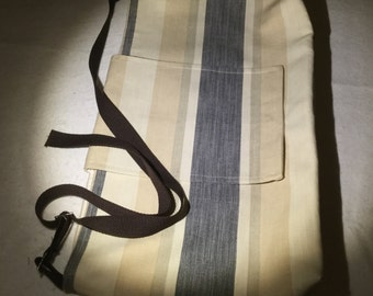 Quality cotton striped material shoulder bag. Grey, cream and fawn.