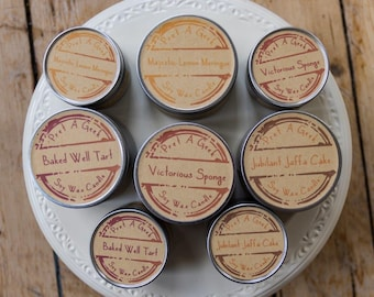 Fandom Candles ~ Pick any 4 Baking & Cake Inspired ~ 4oz Soy Candle ~ Baked Well, Jaffa Cakes, Victorious Sponge