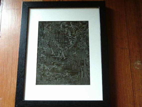 Abstract art vinegar painting in black