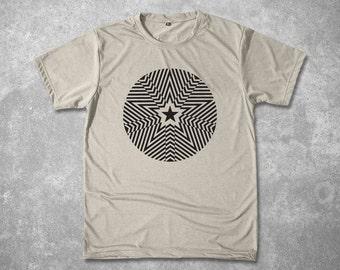 Men Yoga Star Mandala Tshirt Stencil design Mantra Custom Graphic T shirt Spiritual meditation Screen Printed silkscreen tee Sizes M L XL