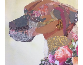 Custom mixed media pet portrait collage on watercolor paper
