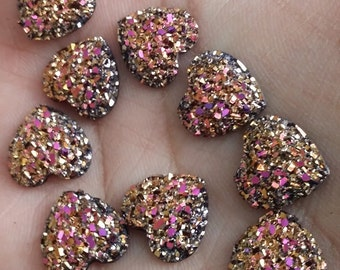 Magenta gold 12mm faux druzy flat hearts 10pcs (E6:1-49)