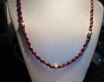Genuine Garnet Beaded Necklace