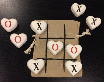 Concrete Heart Tic Tac Toe Game, Wedding Favors, Kids Game, camping game, travel game, gift