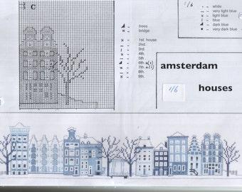 Delft blue Amsterdam Houses cross stitch kit (A7)