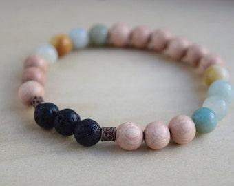 Amazonite Bracelet / Lava Stone Diffuser Bracelet / Essential Oil / Aromatherapy Jewelry / Yoga Bracelet / Meditation Bracelet / Gift Idea