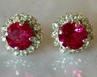 Swarovski Fuchsia Earrings, Fuchsia Crystal Earrings, Swarovski Chrysolite Earrings, Bridesmaid Earrings