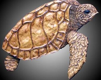 Adult Sea Turtle Version 1 Wall Sculpture