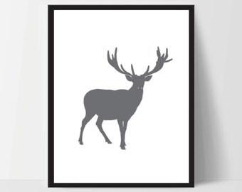 Printable Minimalist Forest Deer Wall Art Artwork Home Decor Modern Print