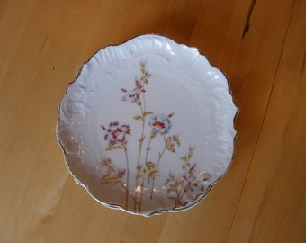 3 Victorian dessert or serving plates flowers with gold trim