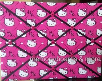 Hello Kitty Fabric Memory Board, Memo Board, Pin Board, Bow Holder, Photo Holder, Ribbon Board, Hello Kitty Room Decor