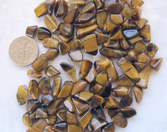 Gold Tiger Eye / Cat's Eye Gemstone Pebbles, lot of 100 tiny tumble polished loose stone chips for gem trees, natural crafts, pocket pieces