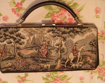 Vintage Tapestry The Hunt Scene with Ladies Evening Clutch Purse Lovely & Unique