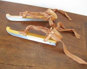 Vintage Dutch Wooden Children's Ice Skates in Original Box