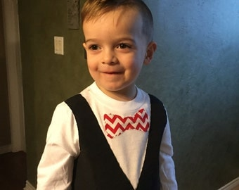 Toddler bow tie and vest shirt