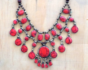 Red Jasper Bubble Necklace,Cassidy Bib Necklace,Ethnic Kuchi Afghan Bib Necklace,Hippie,Boho Jewelry,3 Strand,Festival,Gypsy Boho Necklace