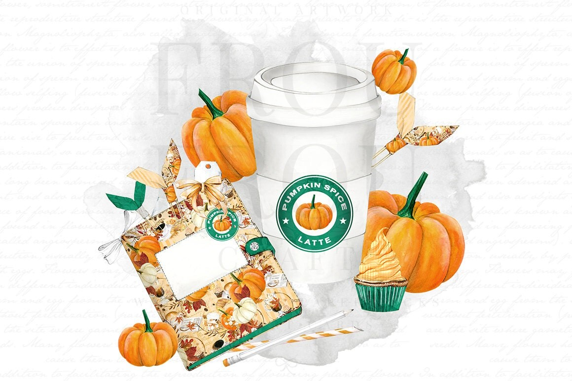 Pumpkin Spice Latte Watercolor Clip Art Coffee Clipart ...