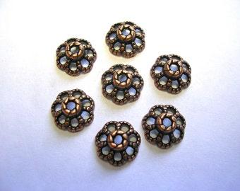 9mm Copper Bead Caps Flower Copper Bead Caps Antiqued Copper Bead Caps Touch of Bling Copper Jewelry 100 Bead Caps in Copper