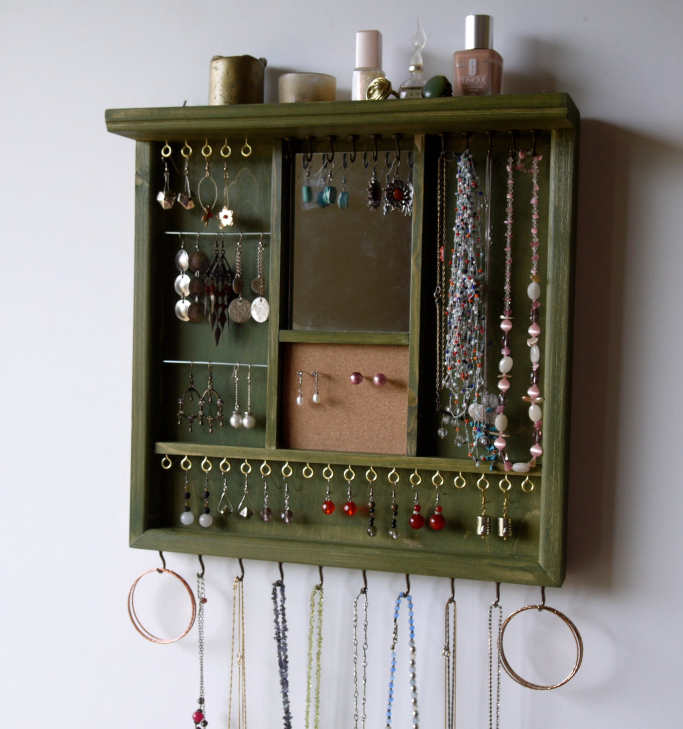 jewelry organizer earrings display with mirror by fineartholders. Black Bedroom Furniture Sets. Home Design Ideas