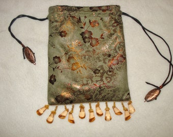 Pouch/Bag Copper Print on Suede...Lined