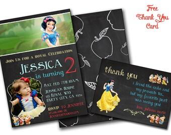 Snow white invitation Snow white birthday invite, Chalk Snow White party Disney Princess,Snow White birthday card, Printable editable,dwarfs