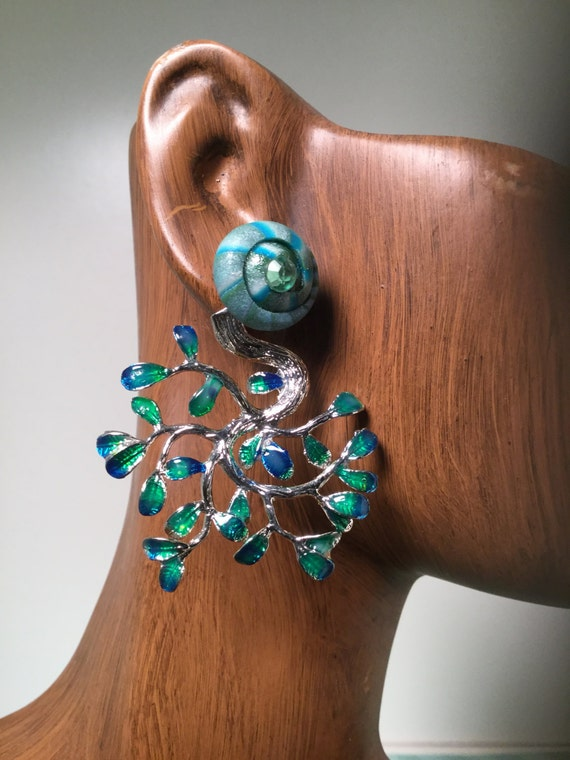 Teal Blue Double Earring, Ceramic Swirl Bead Post, Hand Painted Peacock Jacket, Boho Earring, Front Back Earring Jacket