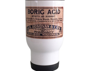 Travel Mug Boric Acid Label (Ships from Australia)
