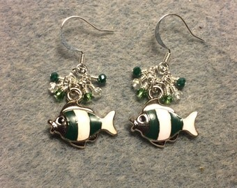 Dark green and white striped enamel fish charm earrings adorned with tiny dangling green Chinese crystal beads.