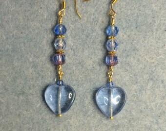 Light blue Czech glass heart bead dangle earrings adorned with light blue Czech glass beads.