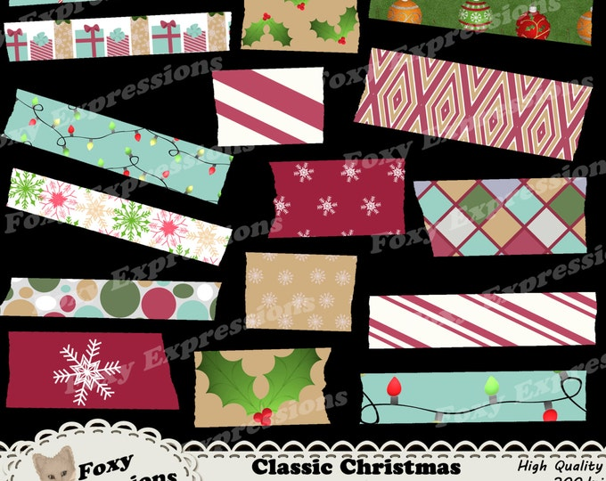 Classic Christmas in shades of green, red and gold with snowflakes, candy canes, ornaments, lights and more for personal or commercial use