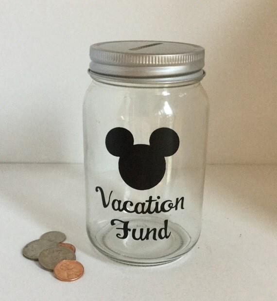 Personalized Mason Jar Mickey Ears Vacation Fund Bank Money