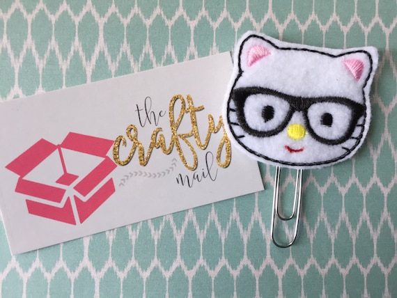 Nerdy Geeky Kitty Paper Clip/Planner Clip/Bookmark