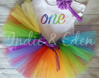 Baby 1st Birthday tutu outfit girls headband babysuit birthday rainbow personalised one set photo prop cake smash