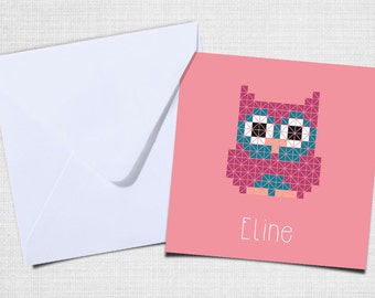 Birth announcement OWL with envelope