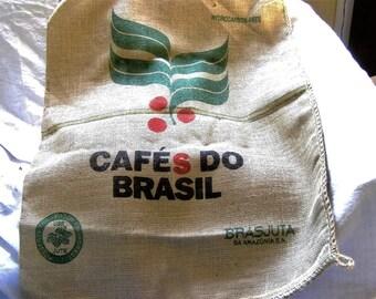 PAIR JUTE SACKS  Vintage Cafe dos Brasil   Unused ,very clean condition  28 x 38 ins