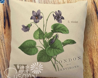 """Purple Violet Botanical Pillow Cover   100% Cotton Canvas   12"""" x 12"""", 16"""" x 16"""", 20"""" x 20""""   London and its Environs"""