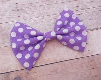 Purple & White Polka Dot Hair Bow Clip / Polka Dot Hair Bow / Purple Hair Bow / Purple Bow Clip / Minnie Mouse Hair Bow / Minnie Hair Bow
