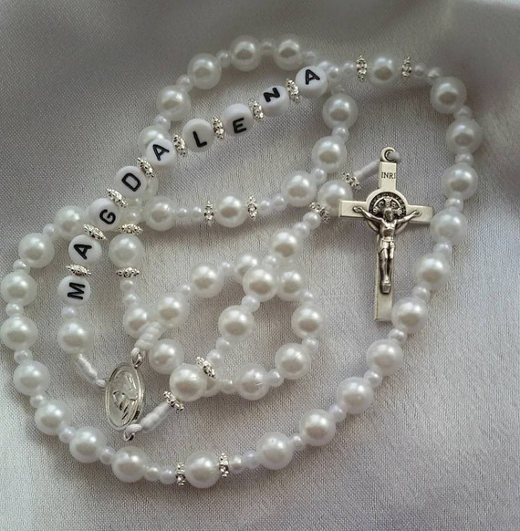 personalized catholic rosary necklace choose your color and